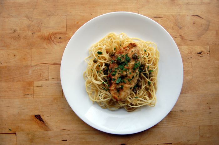 vegan chicken and spaghetti