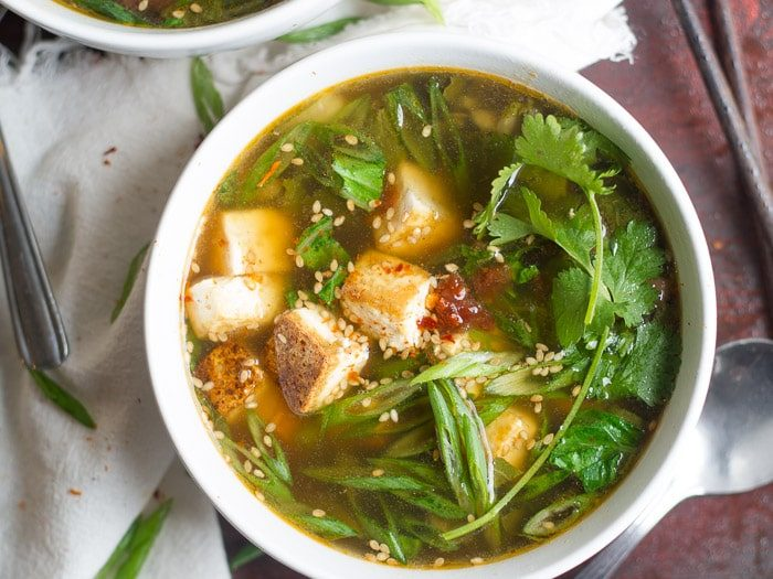 Hot and sour soups with tofu and bok choy
